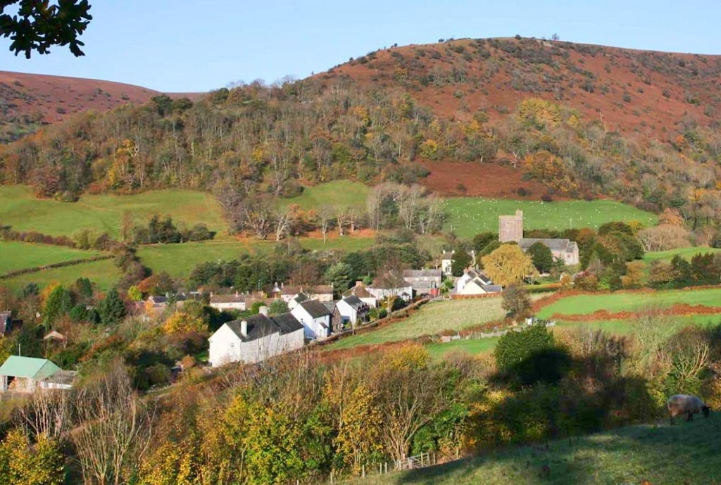 The small village of Cwmdu from the slope above the campsite